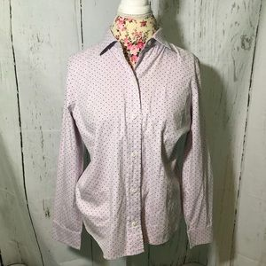 JCrew Shrunken Shirt in Dot Oxford Size 8